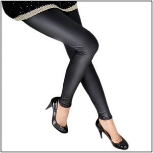 Black Matt Faux Leather Leggings NWT